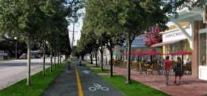 Commercial Core North - 03 - bikeway and buildings